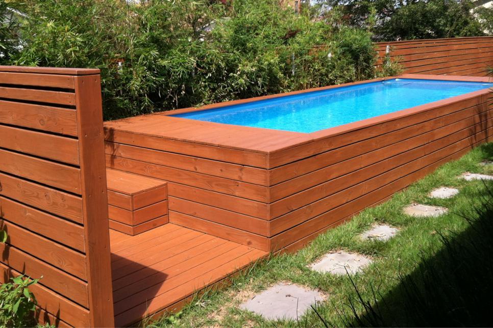 como construir una piscina container
